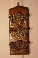 French Art Nouveau Brass & Oak Wall Hanging Letter Rack