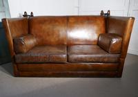 Large Dark Tan Leather Knole Settee (6 of 9)