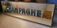 Very Long Art Deco Champagne Wine Bar Wall Mirror, Original Frame