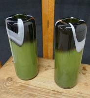 Pair of  Tall Mid Century Glass Art Glass Vases (2 of 6)