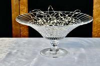 Large French Tazza Diamond Patterned Crystal Pedestal Fruit Dish (2 of 8)