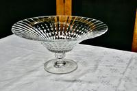 Large French Tazza Diamond Patterned Crystal Pedestal Fruit Dish (3 of 8)