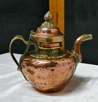Charming 19th Century Indian Beaten Copper & Chased Brass Tea Pot (4 of 6)
