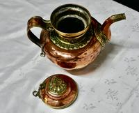 Charming 19th Century Indian Beaten Copper & Chased Brass Tea Pot (5 of 6)