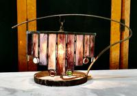French Arts & Crafts Amethyst Leaded Glass Table Lamp (6 of 9)