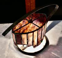 French Arts & Crafts Amethyst Leaded Glass Table Lamp (2 of 9)