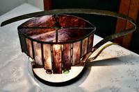 French Arts & Crafts Amethyst Leaded Glass Table Lamp (4 of 9)