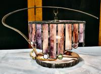 French Arts & Crafts Amethyst Leaded Glass Table Lamp (5 of 9)