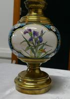 French Napoleon III Ceramic Oil Lamp Decorated with Birds & Flowers (4 of 5)