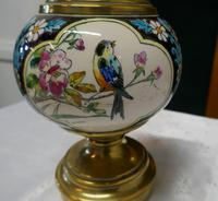 French Napoleon III Ceramic Oil Lamp Decorated with Birds & Flowers (5 of 5)