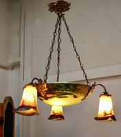 Superb Art Deco Painted Glass 3 Branch Centre Light (2 of 11)