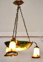 Superb Art Deco Painted Glass 3 Branch Centre Light (3 of 11)