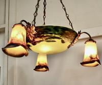 Superb Art Deco Painted Glass 3 Branch Centre Light (4 of 11)
