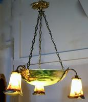 Superb Art Deco Painted Glass 3 Branch Centre Light (7 of 11)