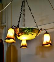 Superb Art Deco Painted Glass 3 Branch Centre Light (8 of 11)