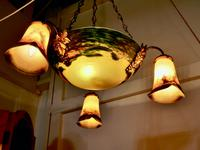 Superb Art Deco Painted Glass 3 Branch Centre Light (9 of 11)