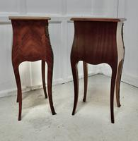 Pair of Inlaid French Marquetry Bombe Shaped Bedside Cupboards (5 of 5)
