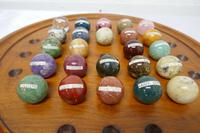 Set of French Marble Orbs on a Turned Solitaire Board (9 of 9)