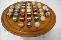 Set of French Marble Orbs on a Turned Solitaire Board (2 of 9)