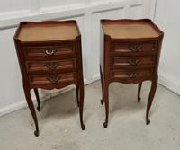 Pair of French. 3 Drawer Cherrywood Bedside Cabinets (2 of 4)