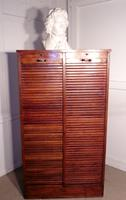 French Tambour Double Fronted Oak Art Deco Filing Cabinet c.1930 (3 of 3)