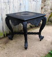 Superb Carved Anglo Indian Table, Occasional Table