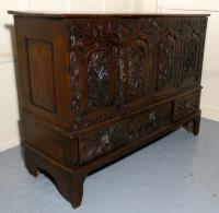Large 18th Century Carved Oak Marriage Chest (8 of 9)