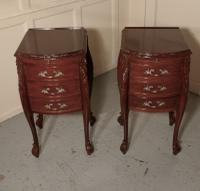 Pair of French Walnut & Ormolu 3 Drawer Bedside Chests c.1900 (6 of 10)