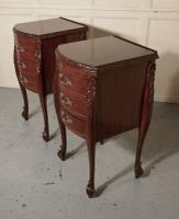 Pair of French Walnut & Ormolu 3 Drawer Bedside Chests c.1900 (2 of 10)