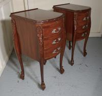Pair of French Walnut & Ormolu 3 Drawer Bedside Chests c.1900 (3 of 10)