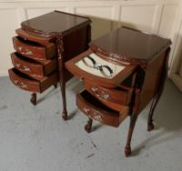 Pair of French Walnut & Ormolu 3 Drawer Bedside Chests c.1900 (10 of 10)