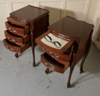 Pair of French Walnut & Ormolu 3 Drawer Bedside Chests c.1900 (7 of 10)