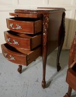 Pair of French Walnut & Ormolu 3 Drawer Bedside Chests c.1900 (8 of 10)
