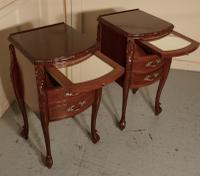Pair of French Walnut & Ormolu 3 Drawer Bedside Chests c.1900 (9 of 10)