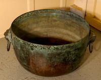 Large Bronze Temple Water Bowl with Lion Dog Mask Ring Handles 1850 (7 of 8)