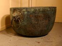 Large Bronze Temple Water Bowl with Lion Dog Mask Ring Handles 1850 (2 of 8)