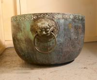 Large Bronze Temple Water Bowl with Lion Dog Mask Ring Handles 1850 (4 of 8)