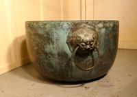 Large Bronze Temple Water Bowl with Lion Dog Mask Ring Handles 1850 (3 of 8)