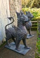 Pair of Large Bronze Thai Temple Guardian Foo Lion Dogs (7 of 12)