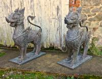 Pair of Large Bronze Thai Temple Guardian Foo Lion Dogs (4 of 12)