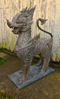 Pair of Large Bronze Thai Temple Guardian Foo Lion Dogs (5 of 12)