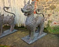 Pair of Large Bronze Thai Temple Guardian Foo Lion Dogs (8 of 12)
