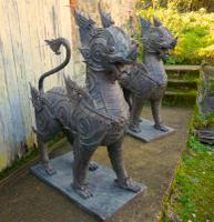 Pair of Large Bronze Thai Temple Guardian Foo Lion Dogs (10 of 12)