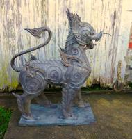 Pair of Large Bronze Thai Temple Guardian Foo Lion Dogs (11 of 12)