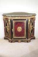 Napoleon III Gilt Metal Mounted Ebonised Cabinet with Marble Top c.1860