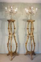 Stunning Pair of Crystal Candelabra Lights On Gilt Torcheres