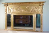 Regency Style Gilt Triple-Plate Overmantle Mirror c.1890