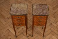 Pair of French Three Drawer Walnut Bedside Cabinets (5 of 11)