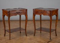 Large Pair of French Walnut Veneered Single Drawer Side Tables