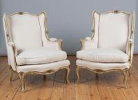Pair of Large French Gilt & Painted Upholstered Bergere Armchairs